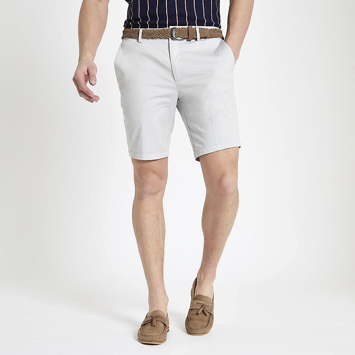 8670973278 Stone belted slim fit chino shorts - Smart Shorts - Shorts - men