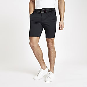 Marineblauwe slim-fit chinoshort met ceintuur