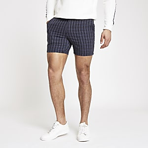 Short slim à carreaux bleu marine