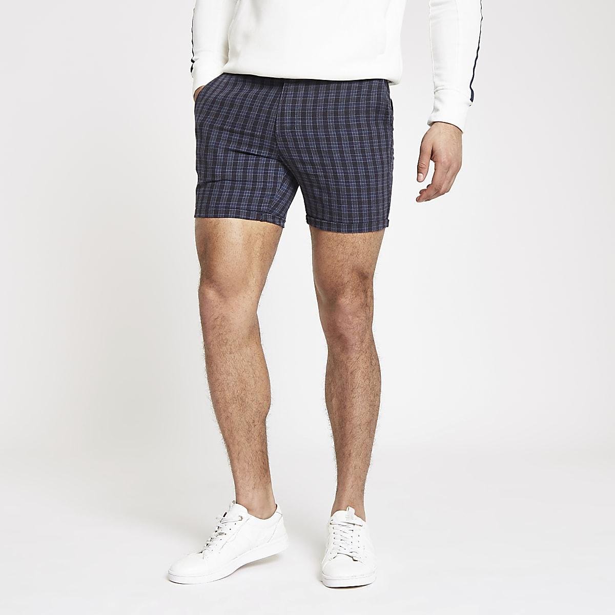 Navy check slim fit shorts
