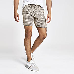 Steingraue, karierte Slim Fit Shorts