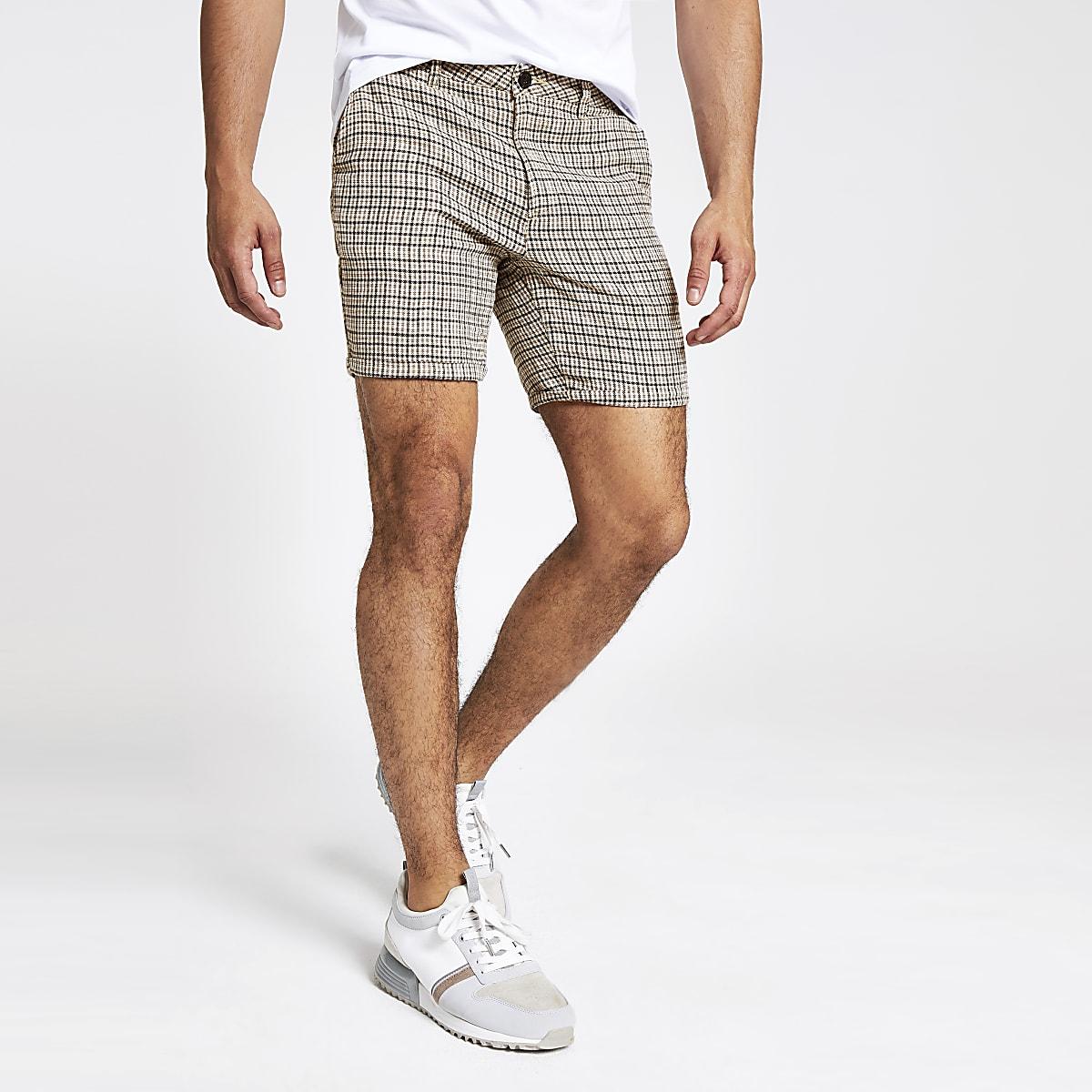 Stone check slim fit shorts