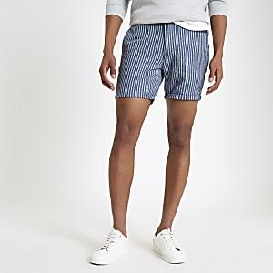 Blaue, gestreifte Slim Fit Shorts