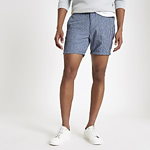 Short slim rayé bleu
