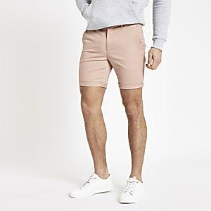 Pinke Skinny Chino-Shorts