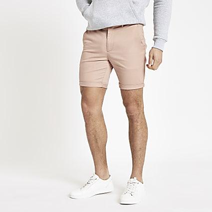 Pink skinny chino shorts