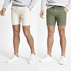 Steingraue Skinny Fit Chino-Shorts, 2er-Pack