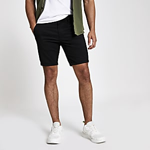 Black skinny chino shorts