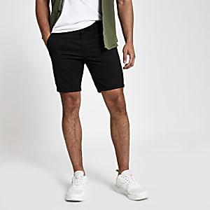 Black skinny chino shorts