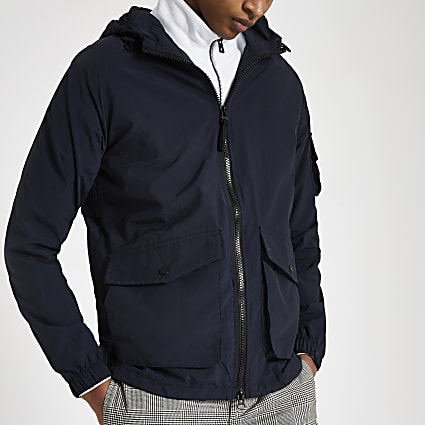 Bellfield navy hooded rain coat