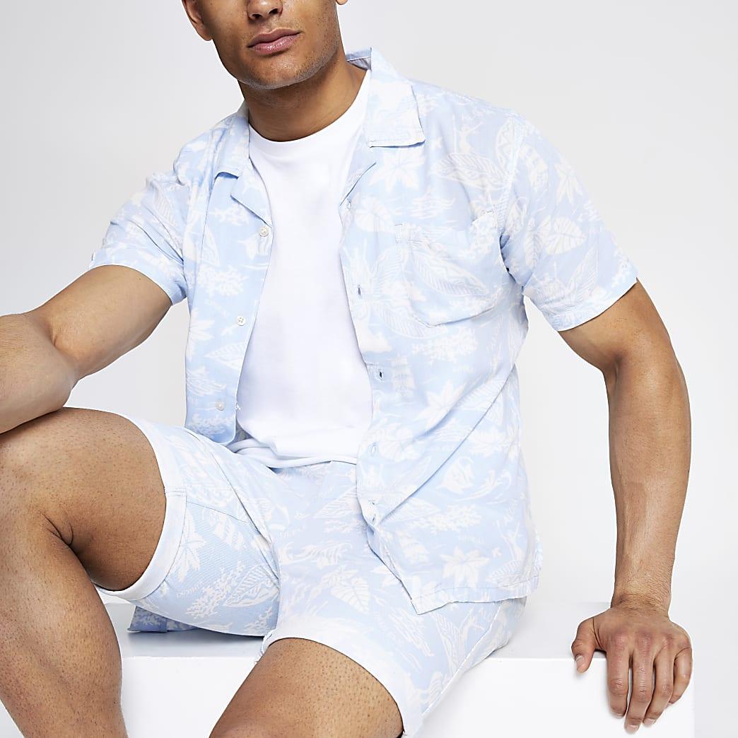 Bellfield blue printed chino shorts