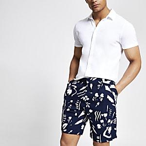 Bellfield – Schwarze Chino-Shorts mit Print