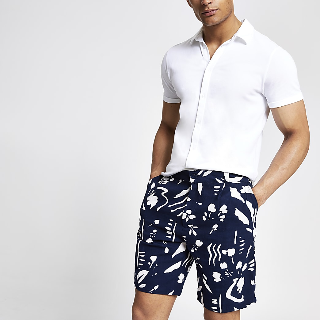 Bellfield black printed chino shorts