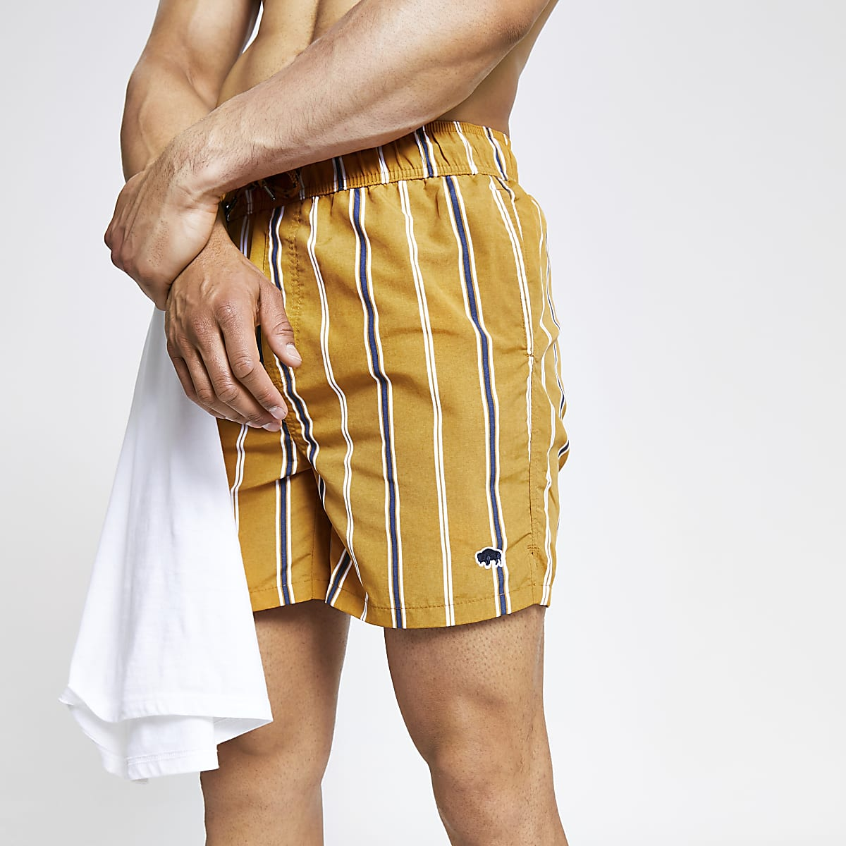 Bellfield brown stripe swim shorts