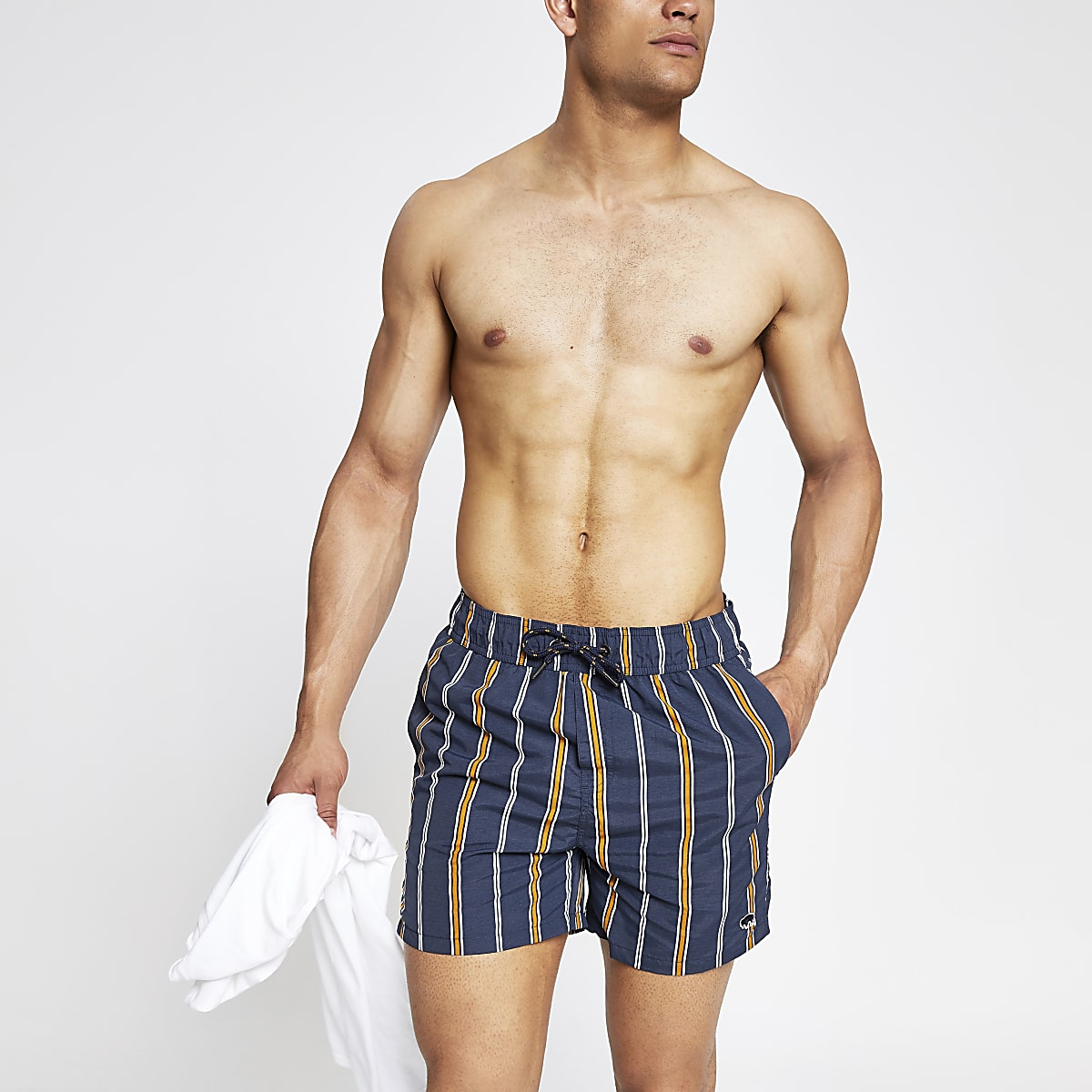 Bellfield navy stripe swim trunks