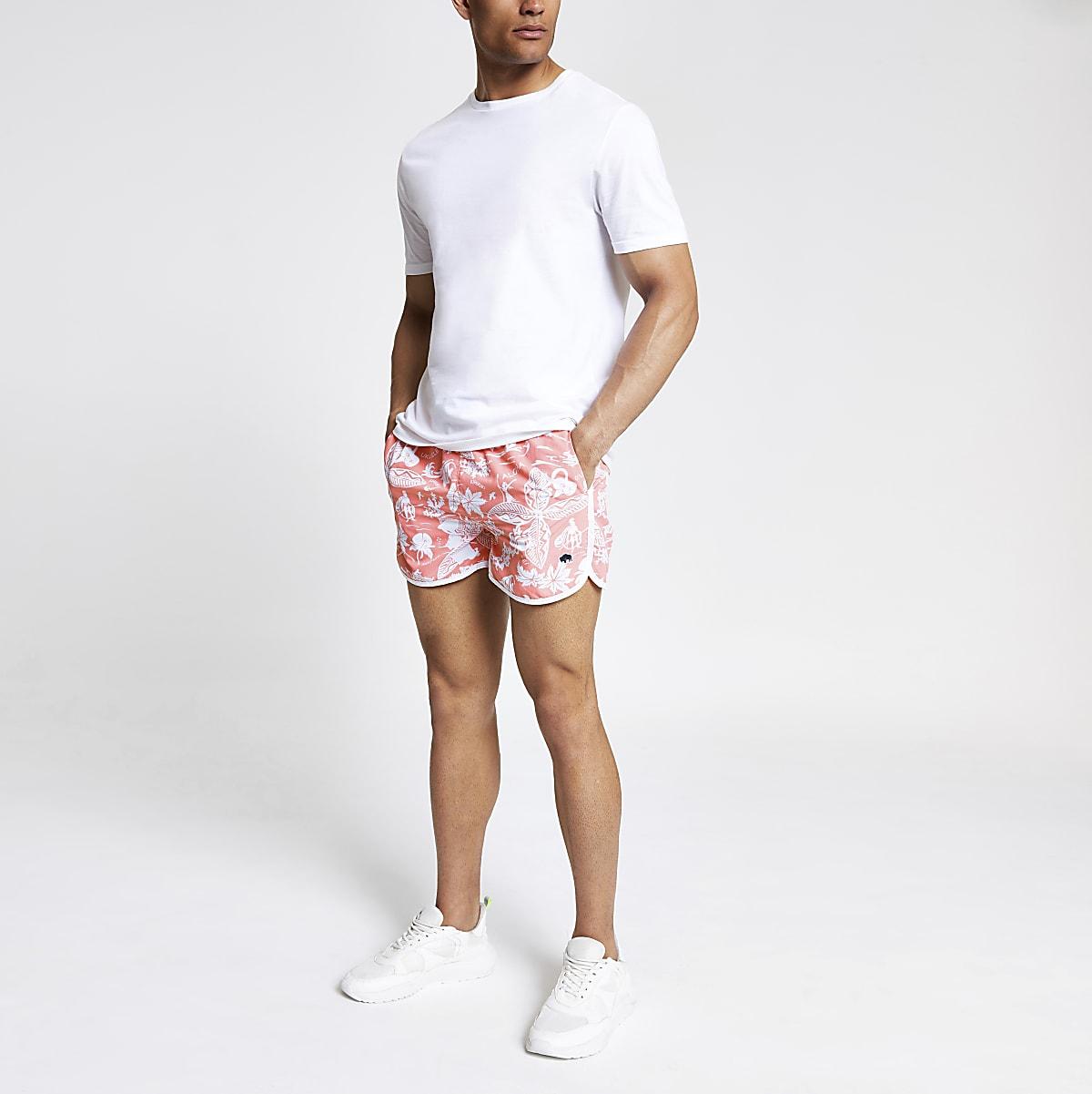0109ce4624ff3 Bellfield pink Hawaii swim shorts - Swim Shorts - Shorts - men