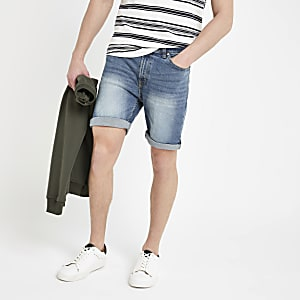 Bellfield blue vintage wash denim shorts