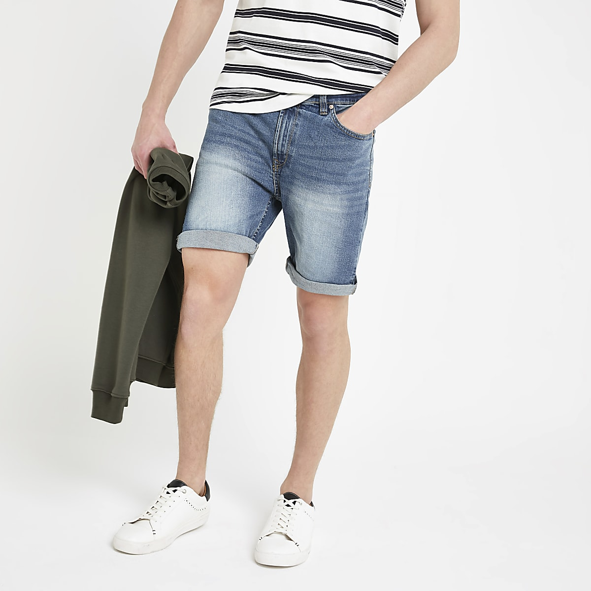 Bellfield blue vintage wash denim shorts
