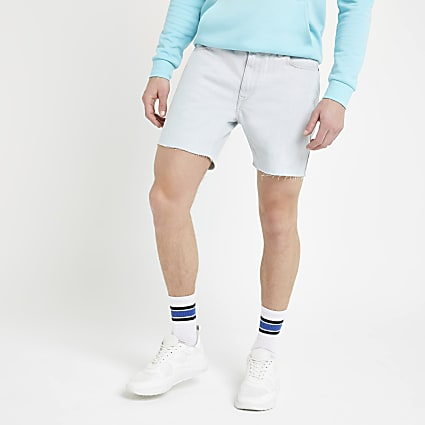 Bellfield blue bleach wash denim shorts