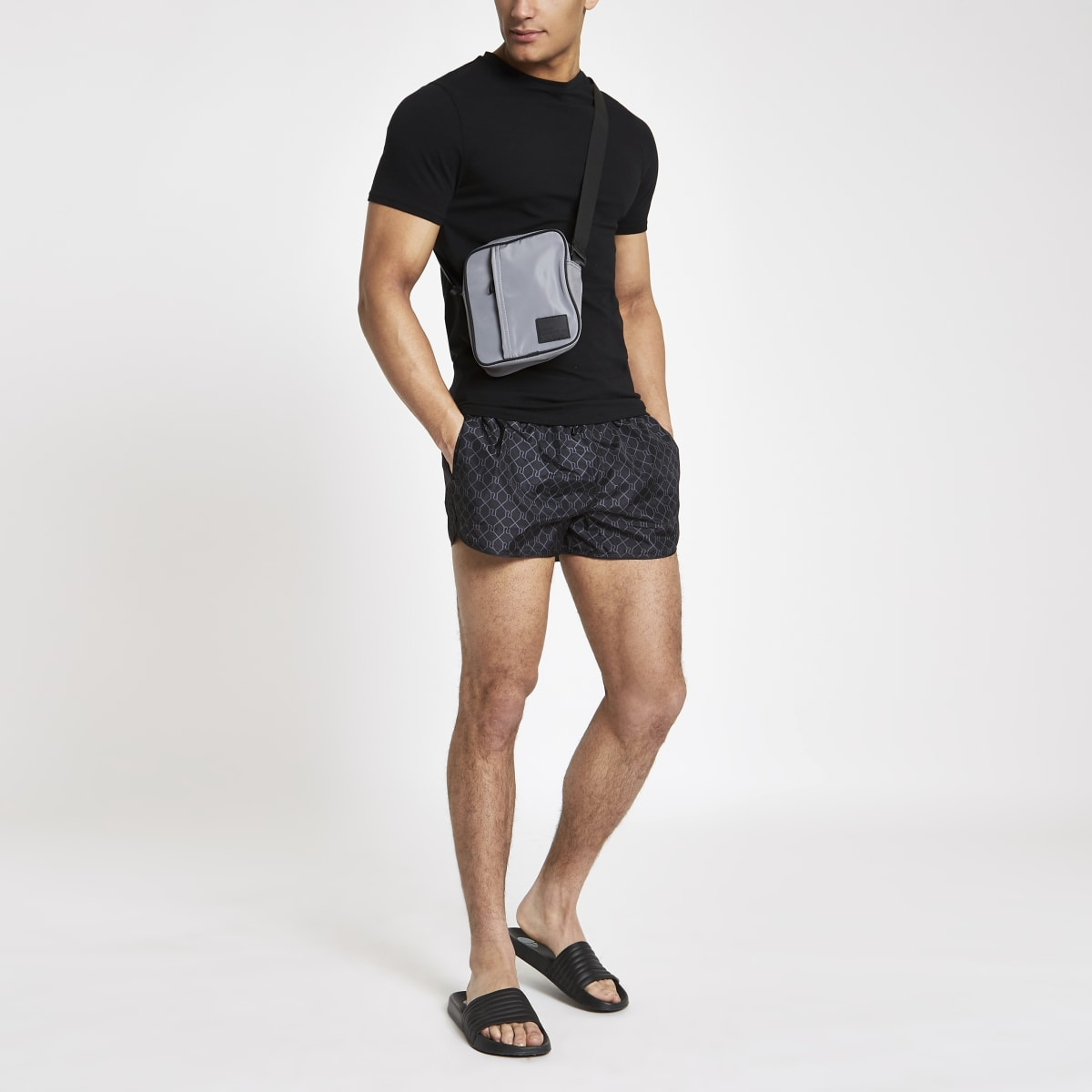 Black RI monogram print swim shorts