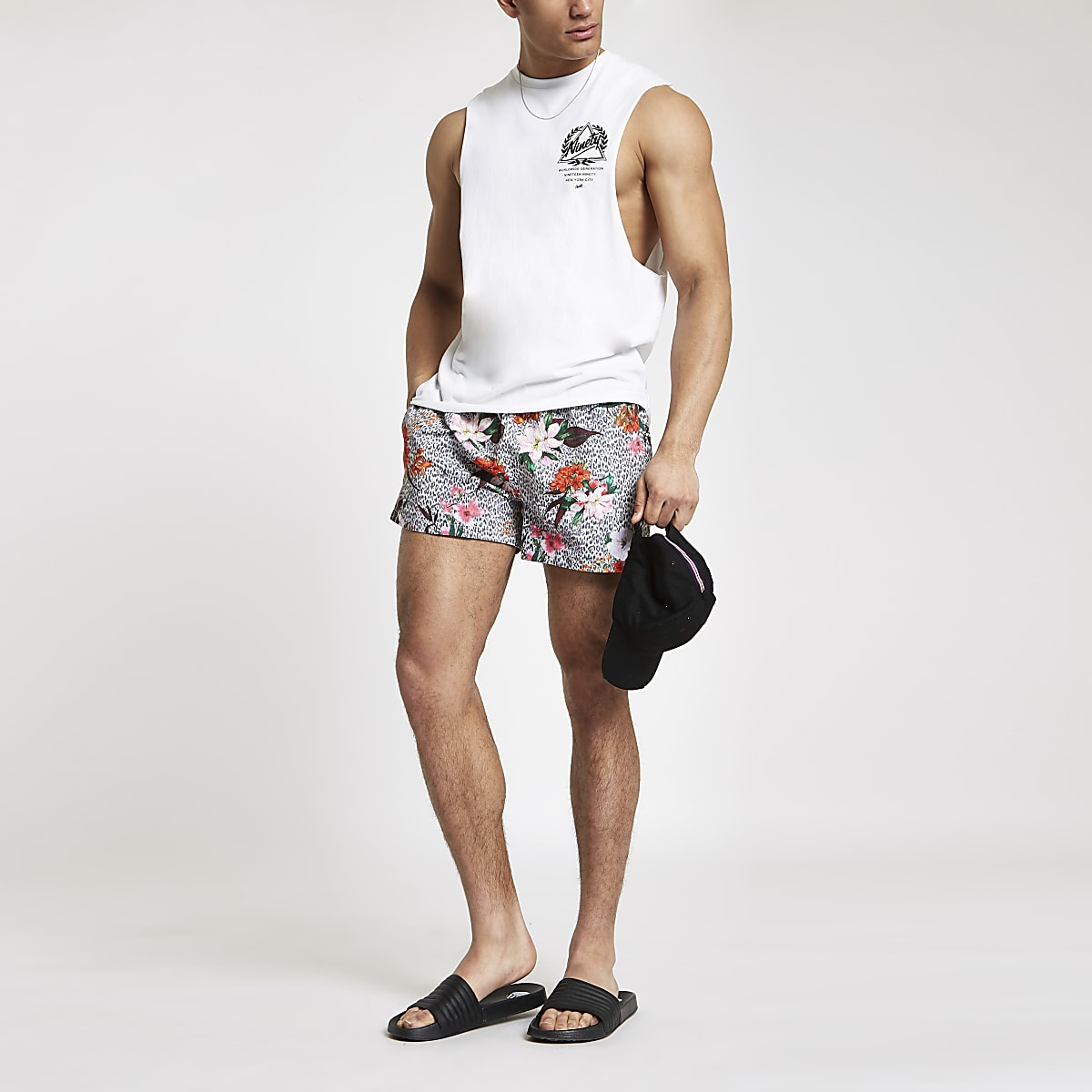 Grey leopard floral print swim shorts