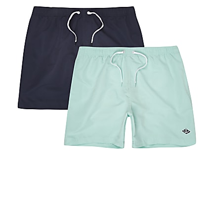 Navy and mint blue short swim shorts 2 pack