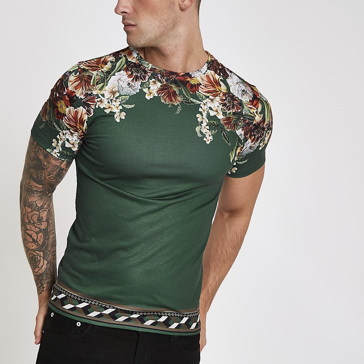 Green floral shoulder print slim fit T-shirt