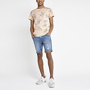 Bellfield – Pinkes, geblümtes T-Shirt mit abgerundetem Saum