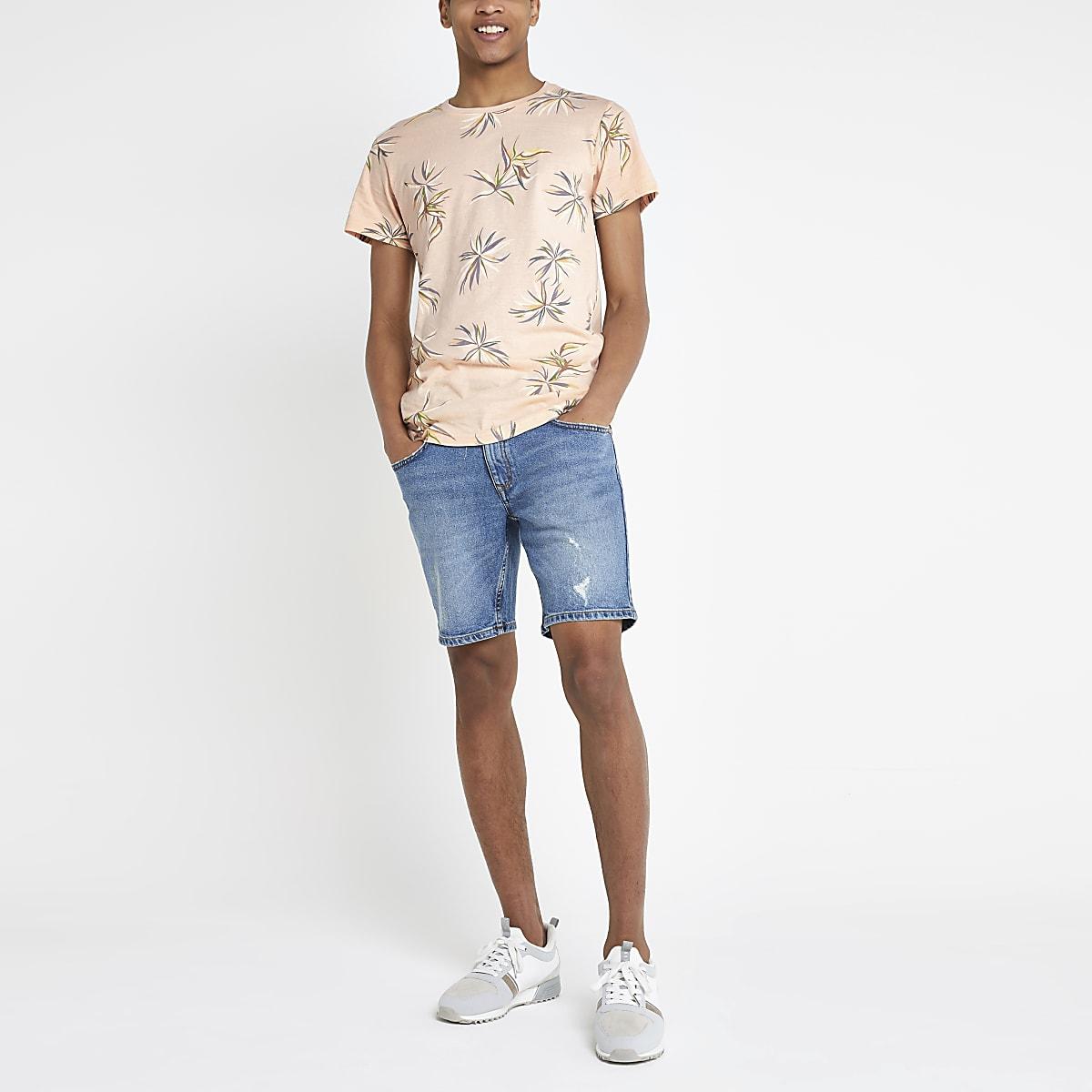 Bellfield pink floral curved hem T-shirt