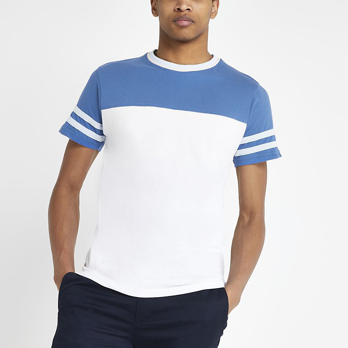 Bellfield – Weißes T-Shirt in Blockfarben