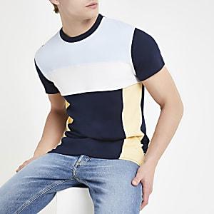 Bellfield - Marineblauw T-shirt met kleurvlakken
