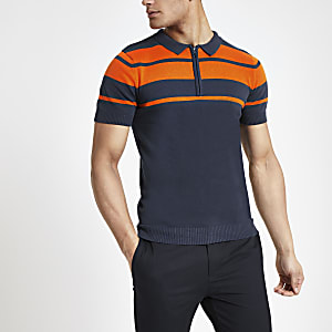 Bellfield navy stripe half zip polo shirt