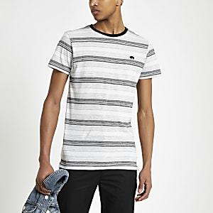 Bellfield – Graues, gestreiftes T-Shirt