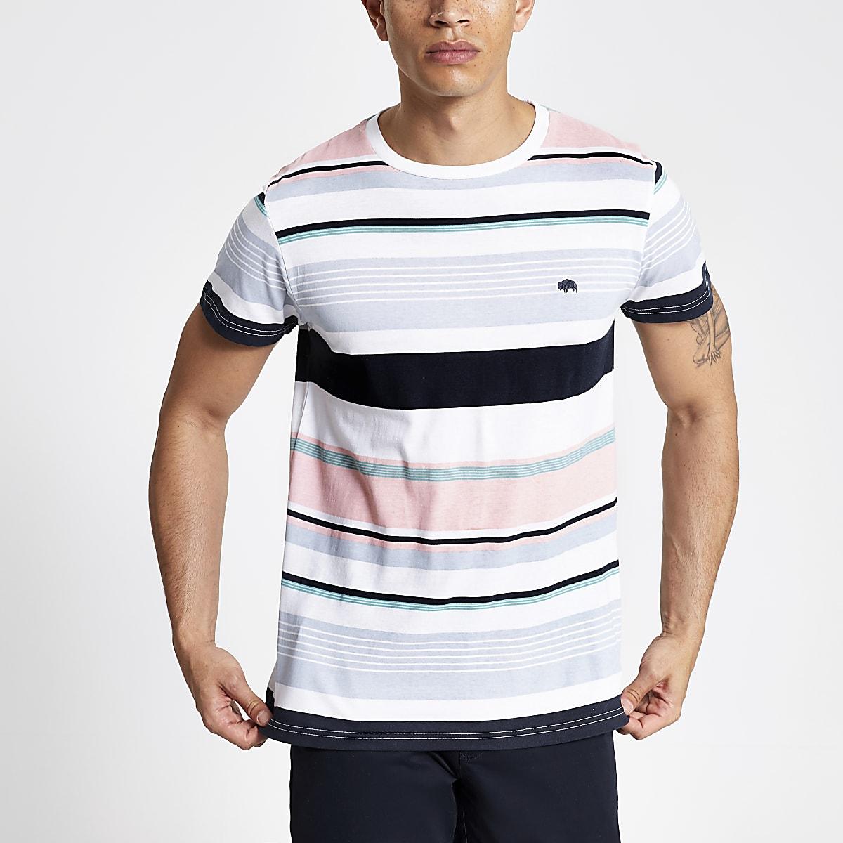 Bellfield – Weißes T-Shirt mit bunten Streifen