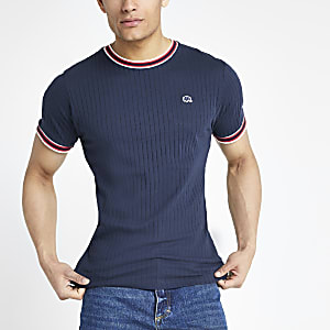 Bellfield navy ribbed T-shirt