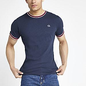 Bellfield - Marineblauw geribbeld T-shirt
