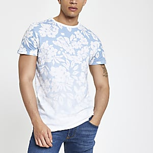 Bellfield – Blaues, geblümtes T-Shirt mit Farbverlauf