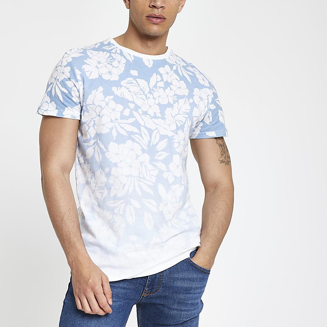 Bellfield - Blauw ombre T-shirt met bloemenprint