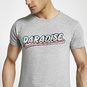 Bellfield – T-shirt imprimé «Paradise» gris chiné