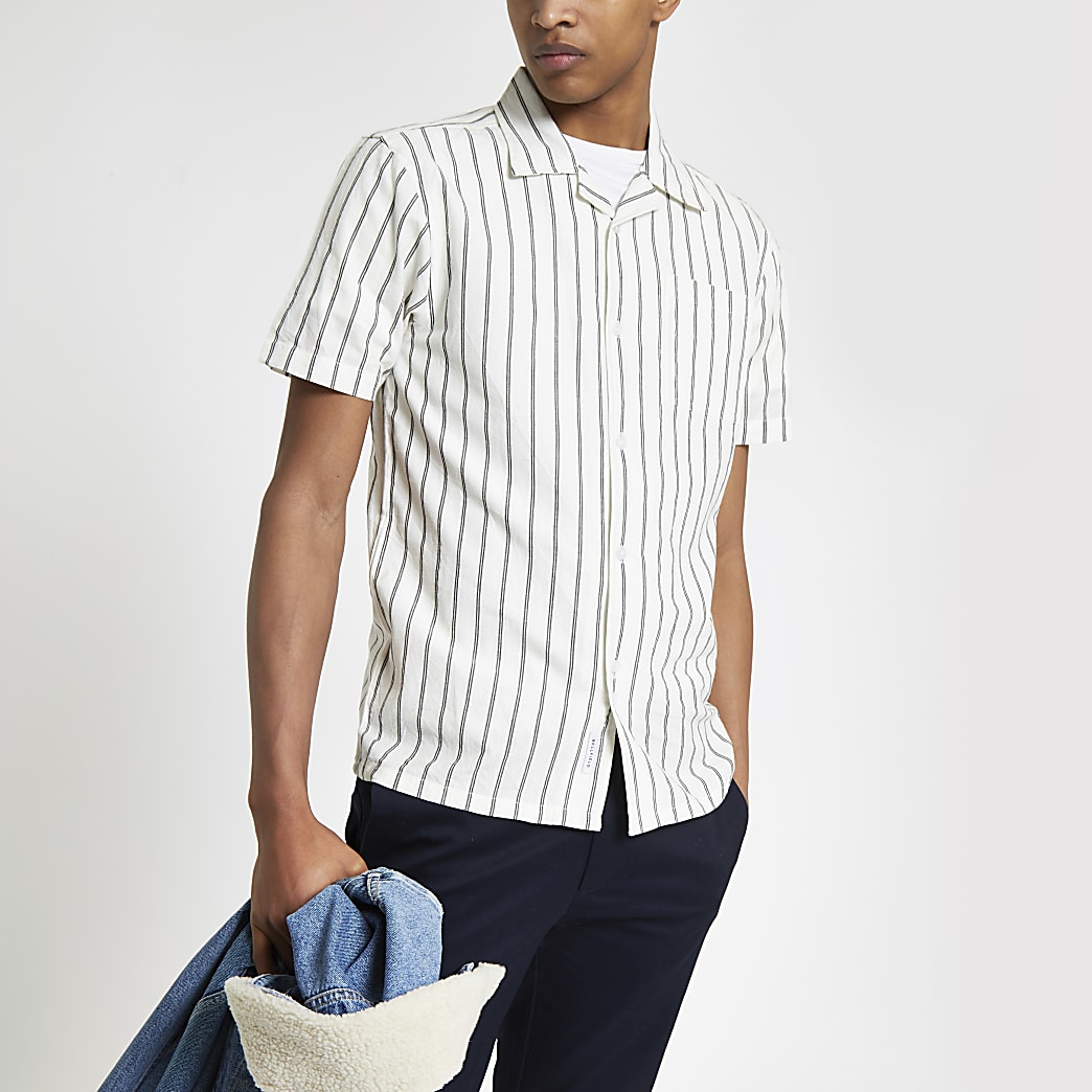 Bellfield - Wit overhemd met verticale streep