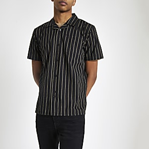 Bellfield – Schwarzes Hemd mit vertikalen Streifen