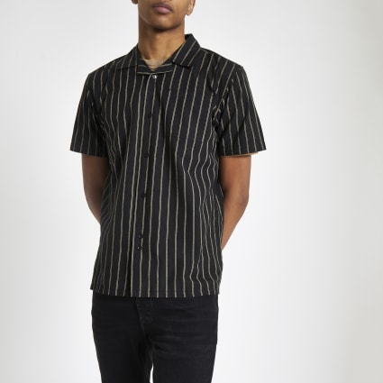 Bellfield black vertical stripe shirt