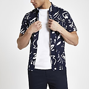 Bellfield navy abstract print shirt