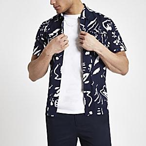 Bellfield - Marineblauw overhemd met abstracte print