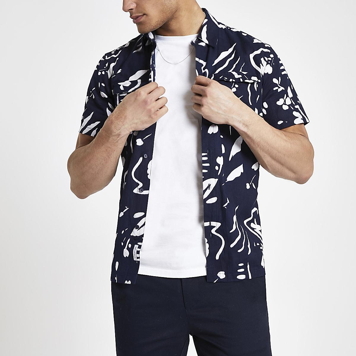 Bellfield – Marineblaues Hemd mit abstraktem Muster