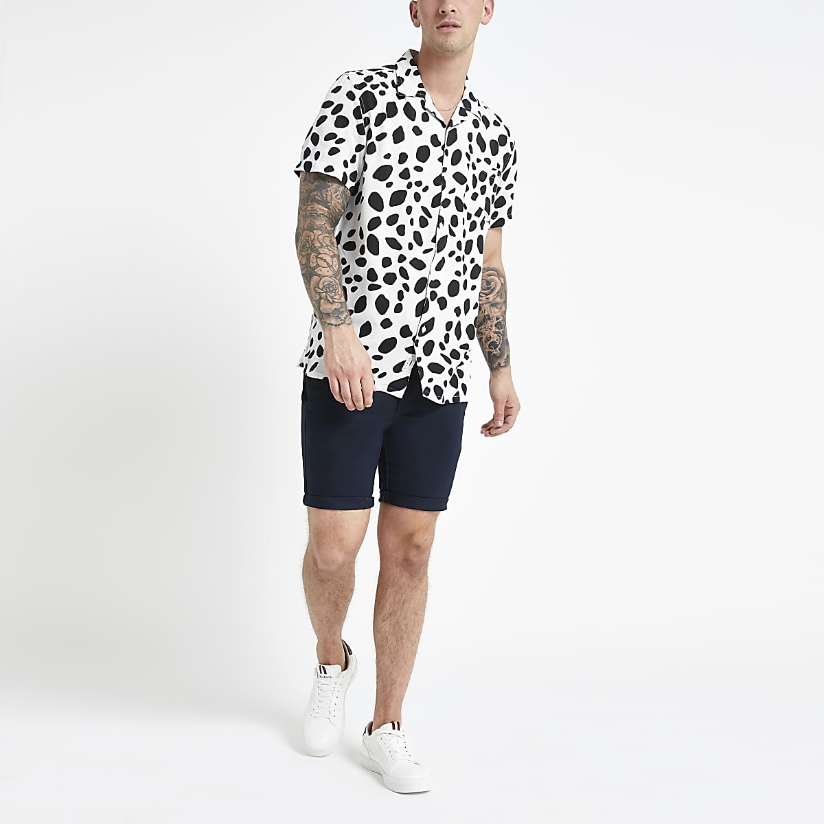 f5b67f8ecf325 Bellfield white animal print shirt - Short Sleeve Shirts - Shirts - men