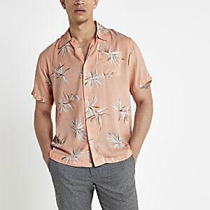 Bellfield – Chemise manches courtes rose à fleurs