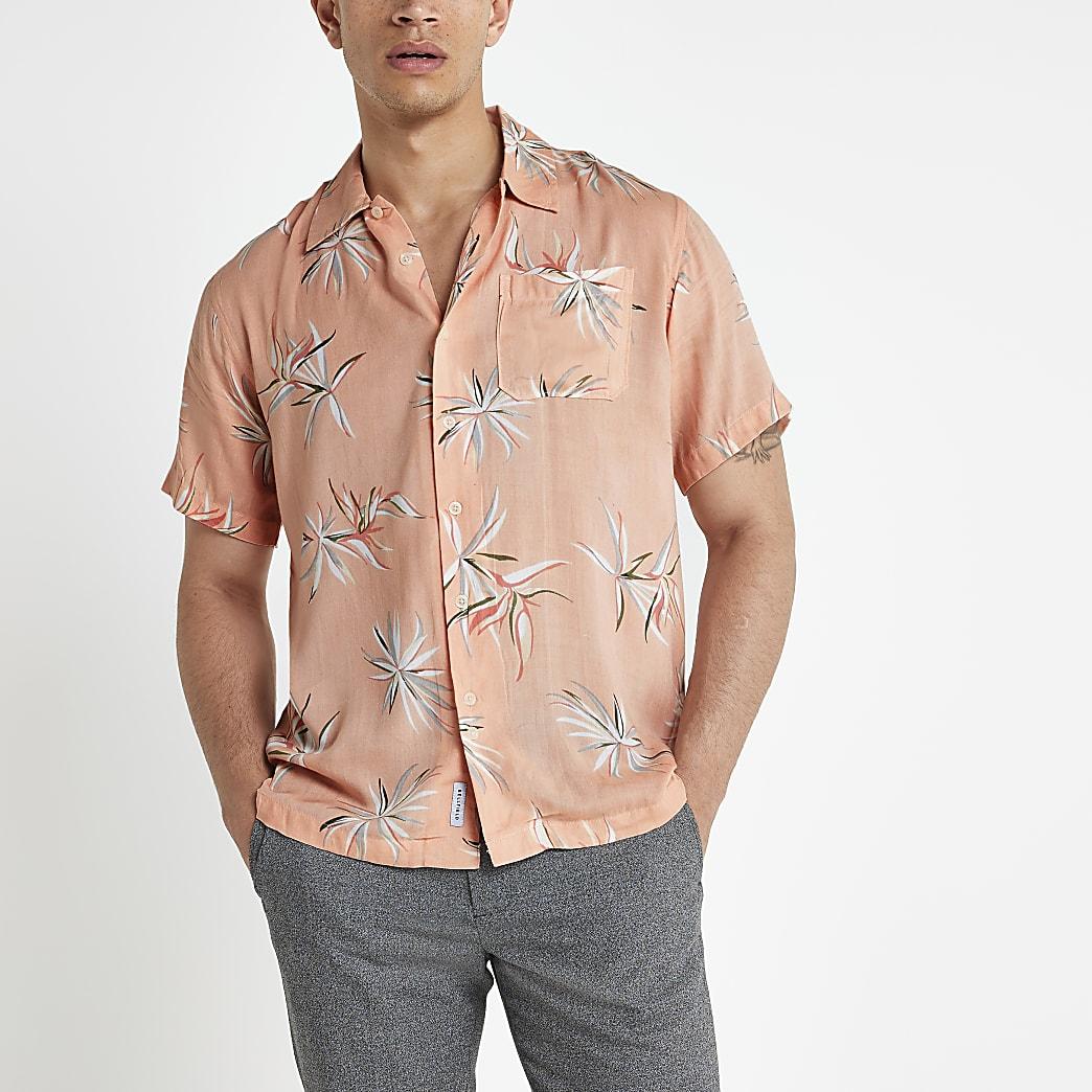 Bellfield pink floral regular fit shirt