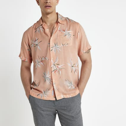 Bellfield pink floral regular fit shirt