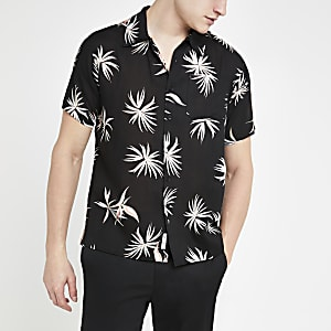 Bellfield – Schwarzes Kurzarmhemd mit Blumenmuster